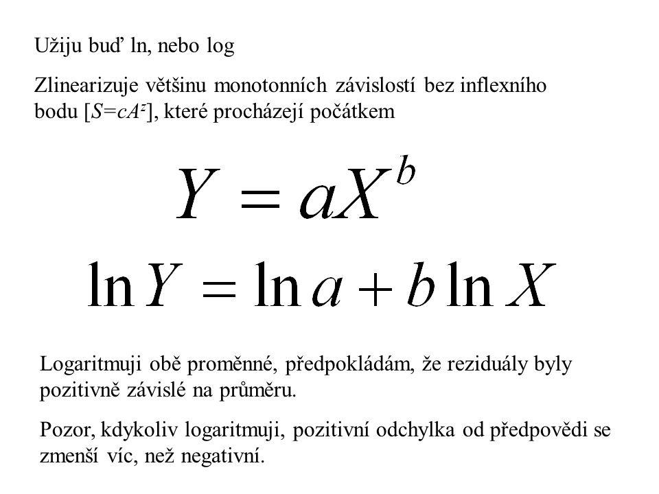 Užiju buď ln, nebo log Zlinearizuje většinu monotonních závislostí bez inflexního bodu [S=cAz], které procházejí počátkem.